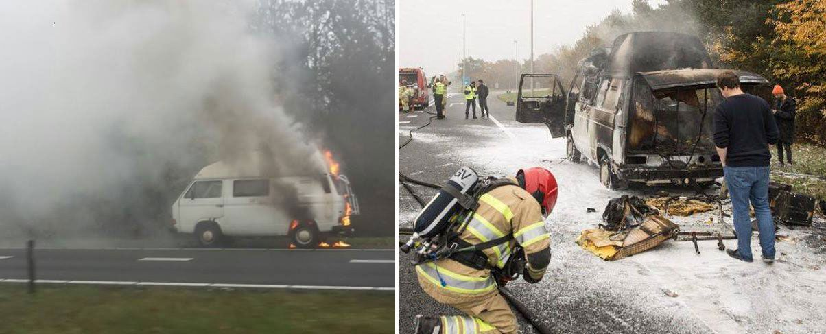 Volkswagen T3 en llamas